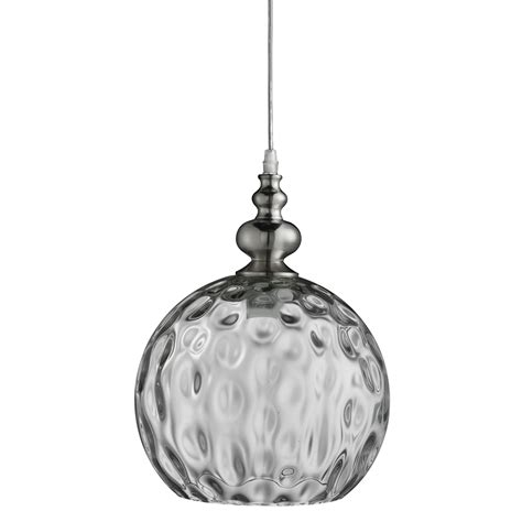 indiana satin silver globe pendant light with dimpled