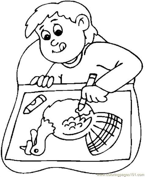 Coloring Book Page Drawing | boy drawing turkey coloring page free thanksgiving day
