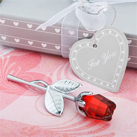 rose themed wedding favors choice crystal red rose favors