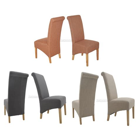 Fabric High Back Dining Chairs Foxhunter New Linen Fabric Dining Chairs Roll Top Scroll High Back Springed Seat Ebay