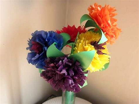 Paper Flower Bouquet Craft - how to make tissue paper flower crafts for