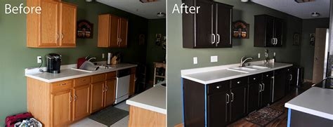 Stained Kitchen Cabinets Before And After Kitchen Before And After Gel Staining Of Cabinets