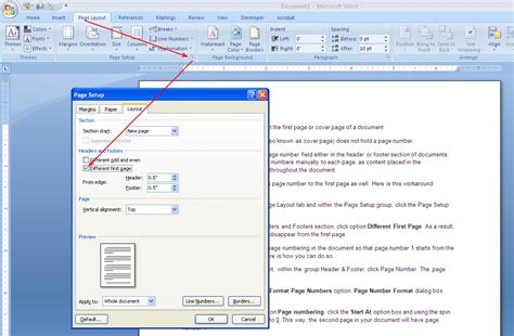 delete header section how to omit page number from the first page of a document