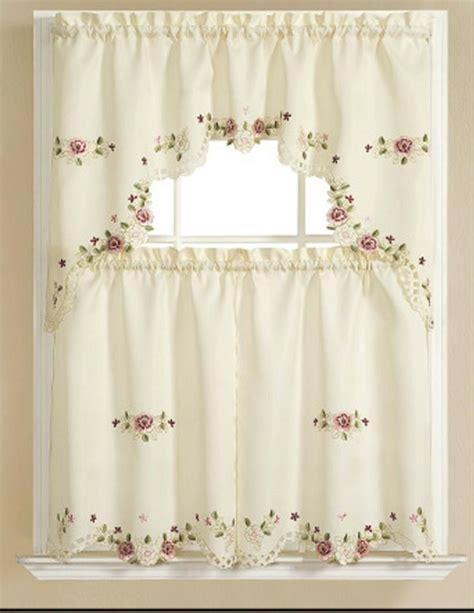 elegant kitchen curtains alisha elegant embroidered kitchen curtain swag linen