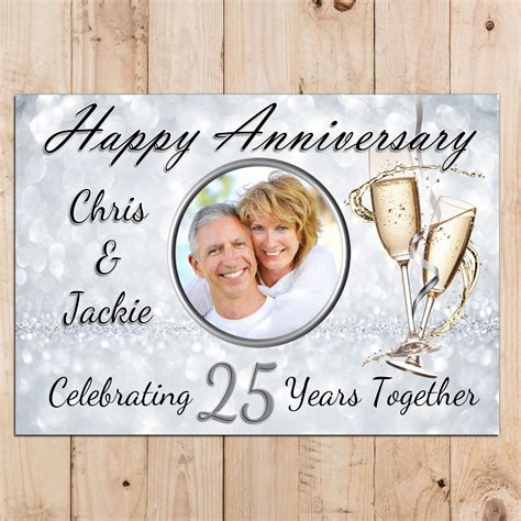 Wedding Anniversary Wishes Posters by Personalised 25th Silver Wedding Anniversary Photo