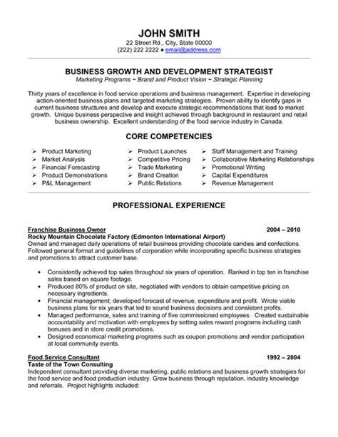 franchise business owner resume template premium resume sles exle