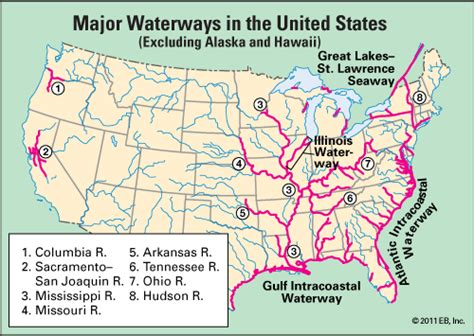 waterway major waterways   united states kids encyclopedia childrens homework