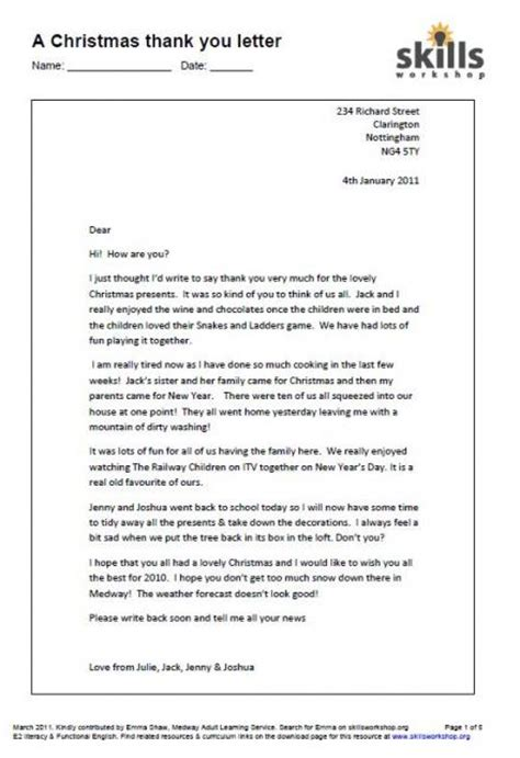layout of a letter functional skills a christmas thank you letter functional english skills