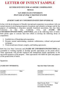 Letter Of Intent For Clothing Business Letter Of Intent Sle Business Letter Exles