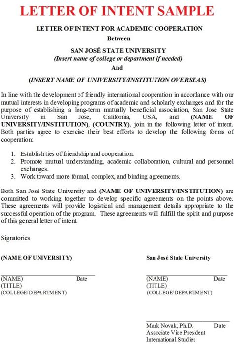 business letter of intent exles letter of intent sle business letter exles