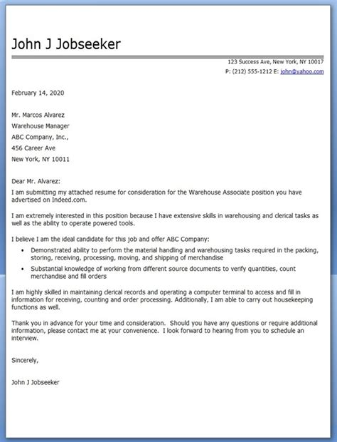 Cover Letter Exle Warehouse Position Warehouse Associate Cover Letter Resume Downloads