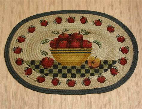 Apple Kitchen Rugs Country Rug Apple Basket Rug Braided Oval Kitchen Rug Country Decor