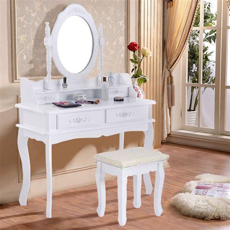 white vanity jewelry makeup dressing table set w stool 4
