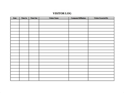 Visitor Log Template Carisoprodolpharm Com Inspection Log Template