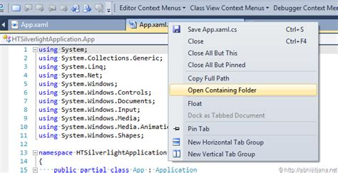 layout menu visual studio 2010 use shortcut or context menu for open containing folder