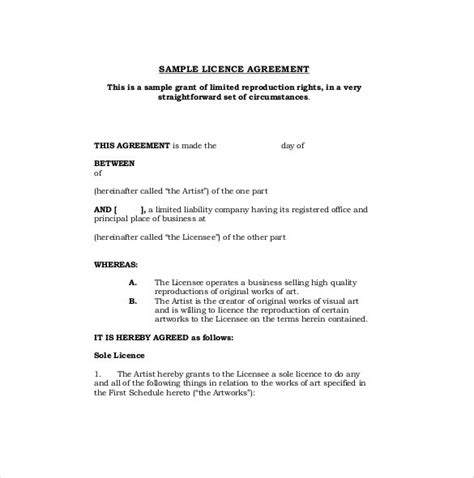 licensing agreement template template design