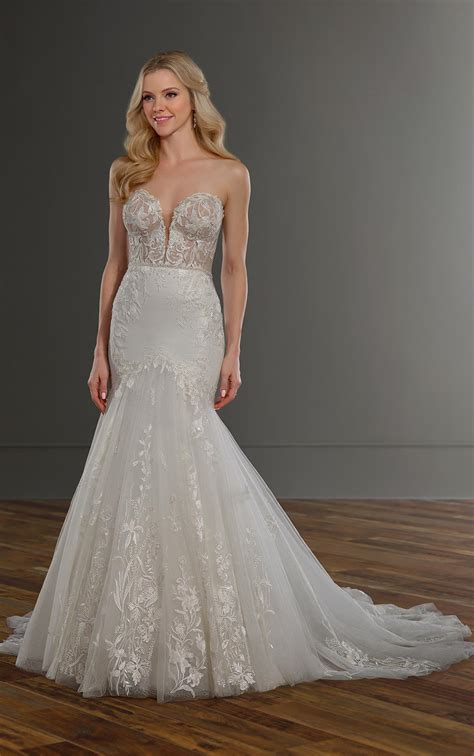 sexy mermaid wedding dress  sheer bodice  glitter