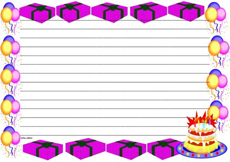 birthday writing paper a set of birthday themed lined paper and page borders for