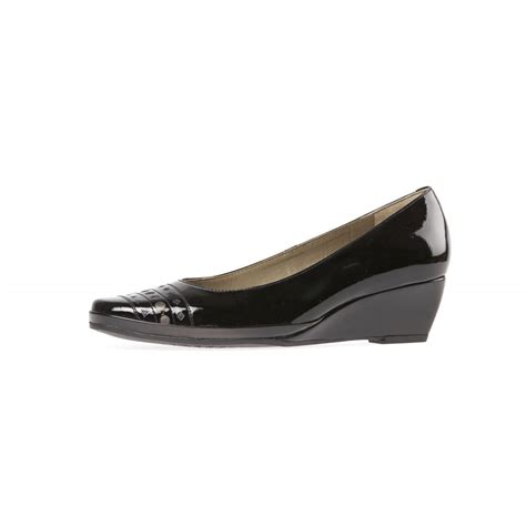 pacifica black patent wedge shoe