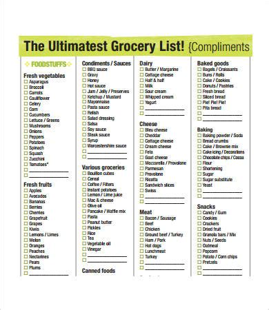 Printable Grocery List Template 7 Free Pdf Documents Download Free Premium Templates Grocery Shopping List Template