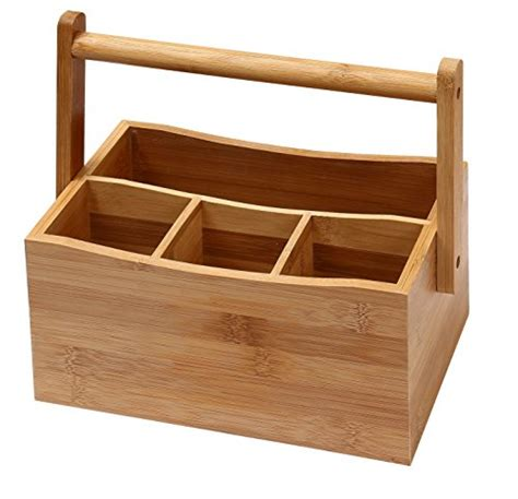 ikea kitchen knife block holder rack box wood new ybm home kitchen bamboo 4 compartment utensil flatware
