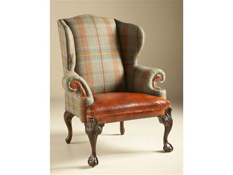 plaid wing chair for the home