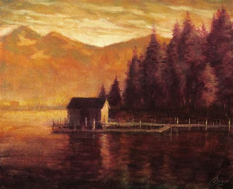 lake tahoe boat house lake tahoe boat house painting by christopher clark
