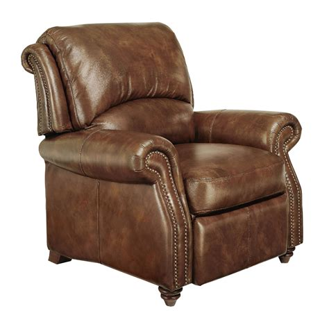 Leather Recliner by Traditional Genuine Top Grain Brown Leather Reclining Club