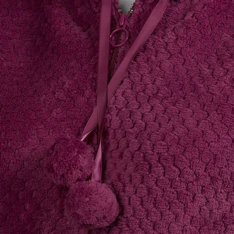 zip up bed bed jacket ladies zip up waffle fleece hooded house coat womens cosy loungewear ebay