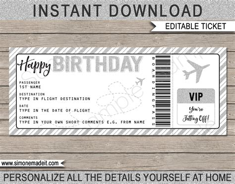 flight ticket template gift printable birthday boarding pass gift ticket plane