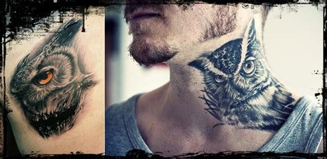 owl neck tattoo 16 cool owl tattoos for everything about tattoos