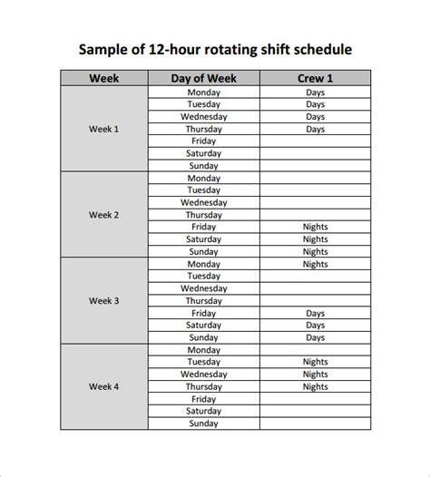 rotating weekend schedule template rotating schedule template