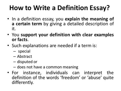 How To Write Definition Essay by Lecture 9 Definition Essay Ppt