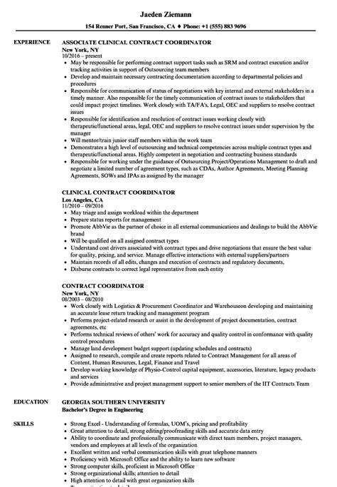 Contract Coordinator Resume Contract Coordinator Resume Sles Velvet