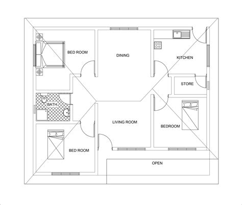 floor plan dwg three bed room 3d house plan with dwg cad file free download