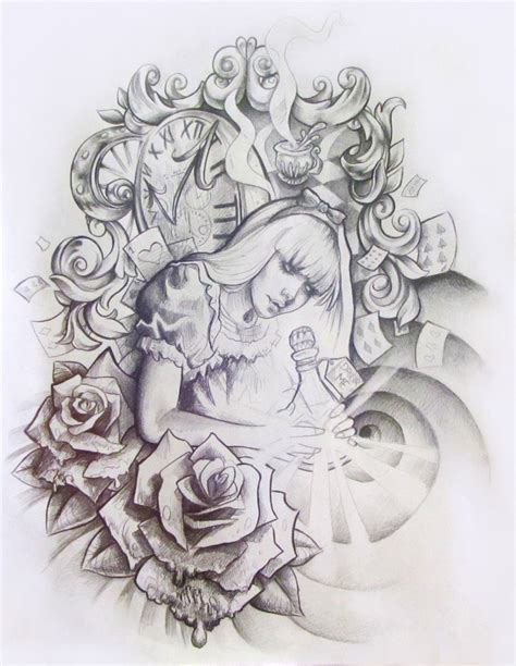 alice and wonderland tattoos in tattoos designs ideas and meaning