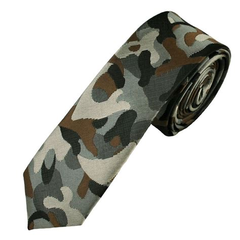 shades of grey brown camouflage pattern s tie