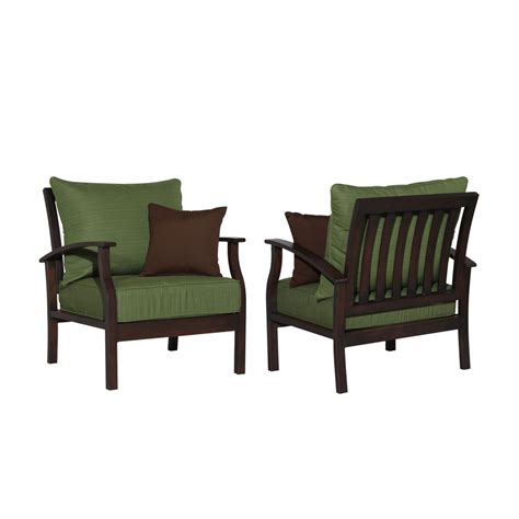 Patio Chairs With Cushions Shop Allen Roth Set Of 2 Eastfield Aluminum Patio Chairs With Solid Green Cushions At Lowes