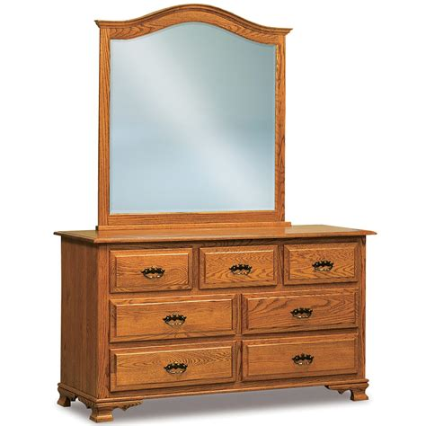 Drawer Dresser With Mirror Traditional 7 Drawer Dresser Mirror Optional Amish Solid Wood Handmade Heritage Hill