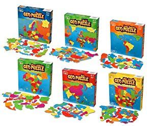 amazon.com: geotoys set of 6 geopuzzles world map