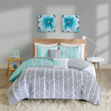 teen full bedroom sets teen girls bedding full or queen aqua teal gray chevron
