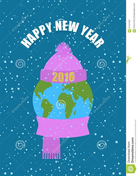 new year earth happy new year earth in winter planet in knitted cap and