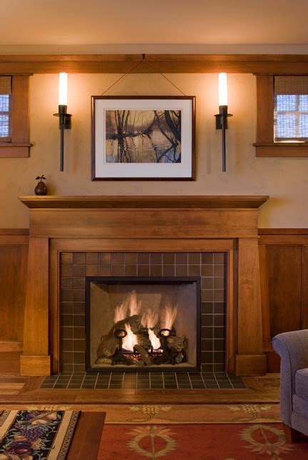 craftsman style fireplace Family Room Craftsman with Arts