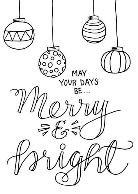 Merry And Bright Christmas Coloring Page Free Merry Coloring Pages