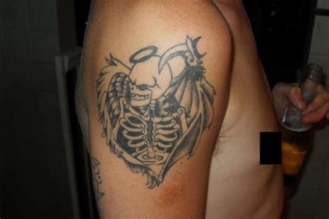 half angel half demon tattoo angle by