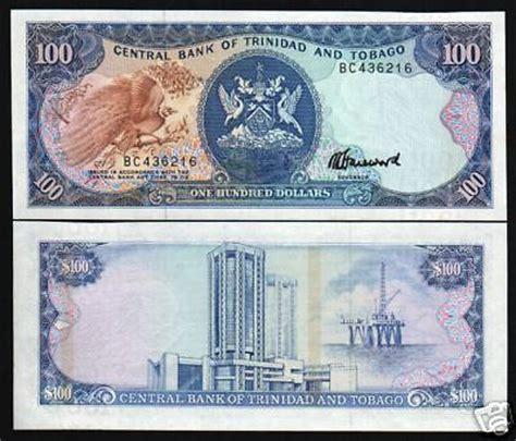 trinidad & tobago $100 p40c 1985 bird oil rig unc currency