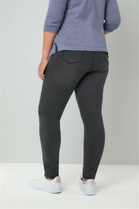 Leg 200 Medium Size Ekman Grab Sler Bottom Grab Sler charcoal grey pull on stretch shaper jeggings plus size 16 to 32