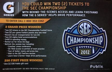 Publix Sweepstakes - new publix sweepstakes win a trip to the sec chionship