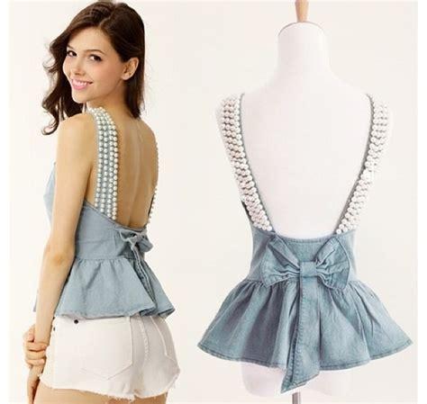 Waist Bow Blouse 080 denim peplum waist sweetheart neckline pearls straps backless bow tank shirt top ebay