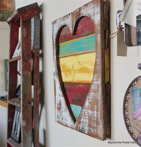 painted projects beyond the picket fence reclaimed wood heart art